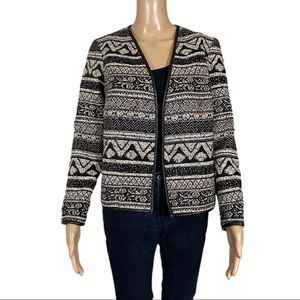 H&M Jacket Open Faux Leather Trim Tribal Print
